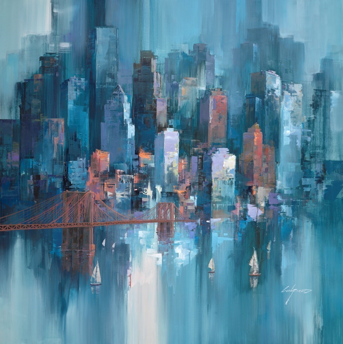 City Shore V by Wilfred -  sized 38x38 inches. Available from Whitewall Galleries
